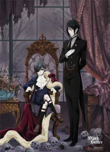 Ciel and Sebastian Black Butler Wall Scroll