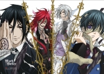 Sebastian, Grell, Ash and Ciel Black Butler Wall Scroll